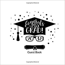 Free clipart images of high school graduation 2018 clip art black and white Congrats Grad! 2018 Guest Book: School Graduation Party Guest Book ... clip art black and white