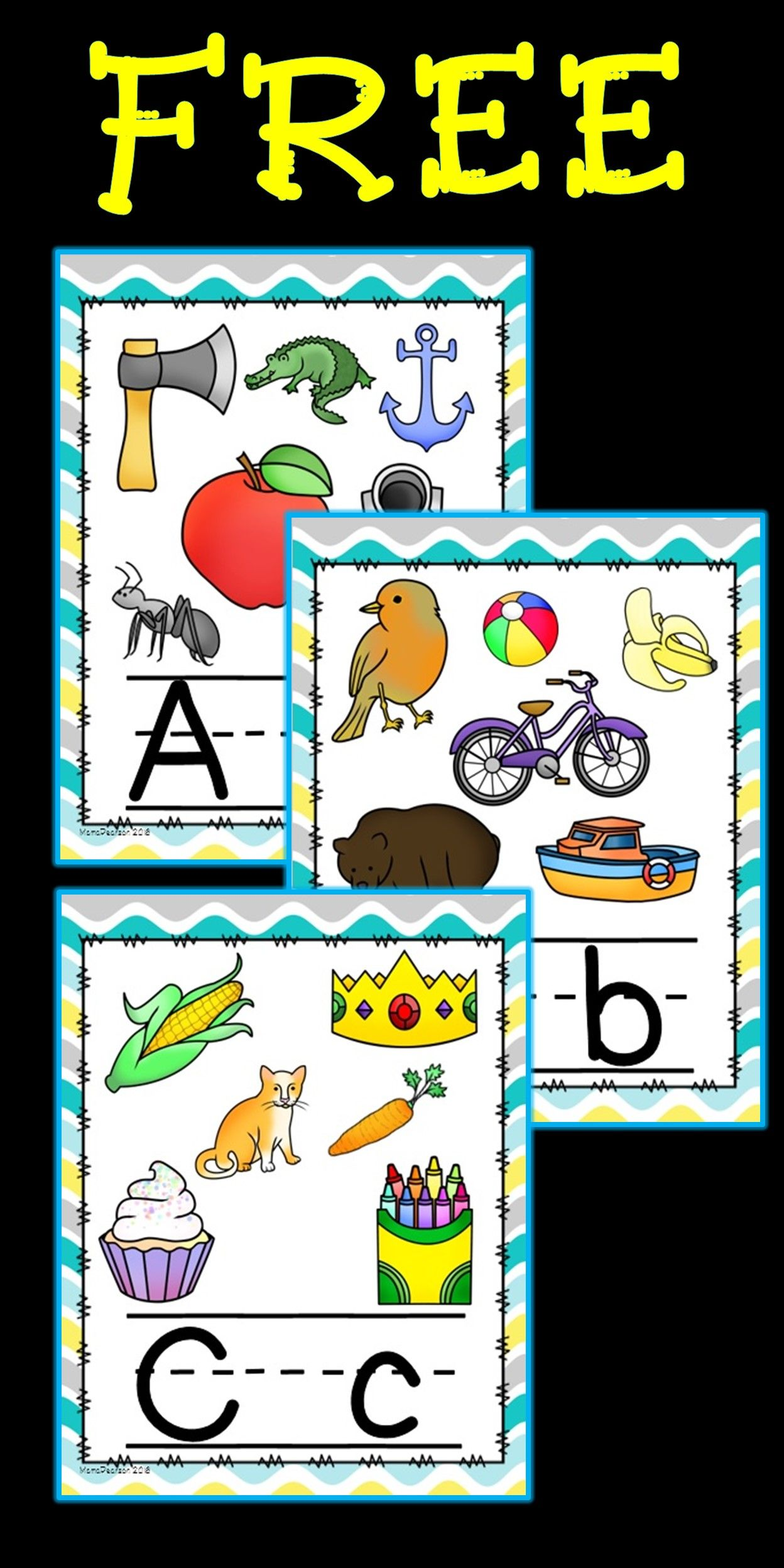 Free clipart images of prek letter wall png royalty free stock FREE!! Full set of alphabet posters with upper and lower case ... png royalty free stock