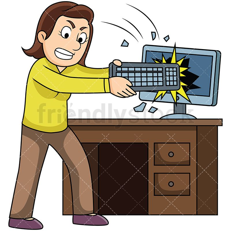 Free clipart images of women sitting tense svg royalty free library Angry Woman Smashing Computer With Keyboard | Clip art | Old ... svg royalty free library
