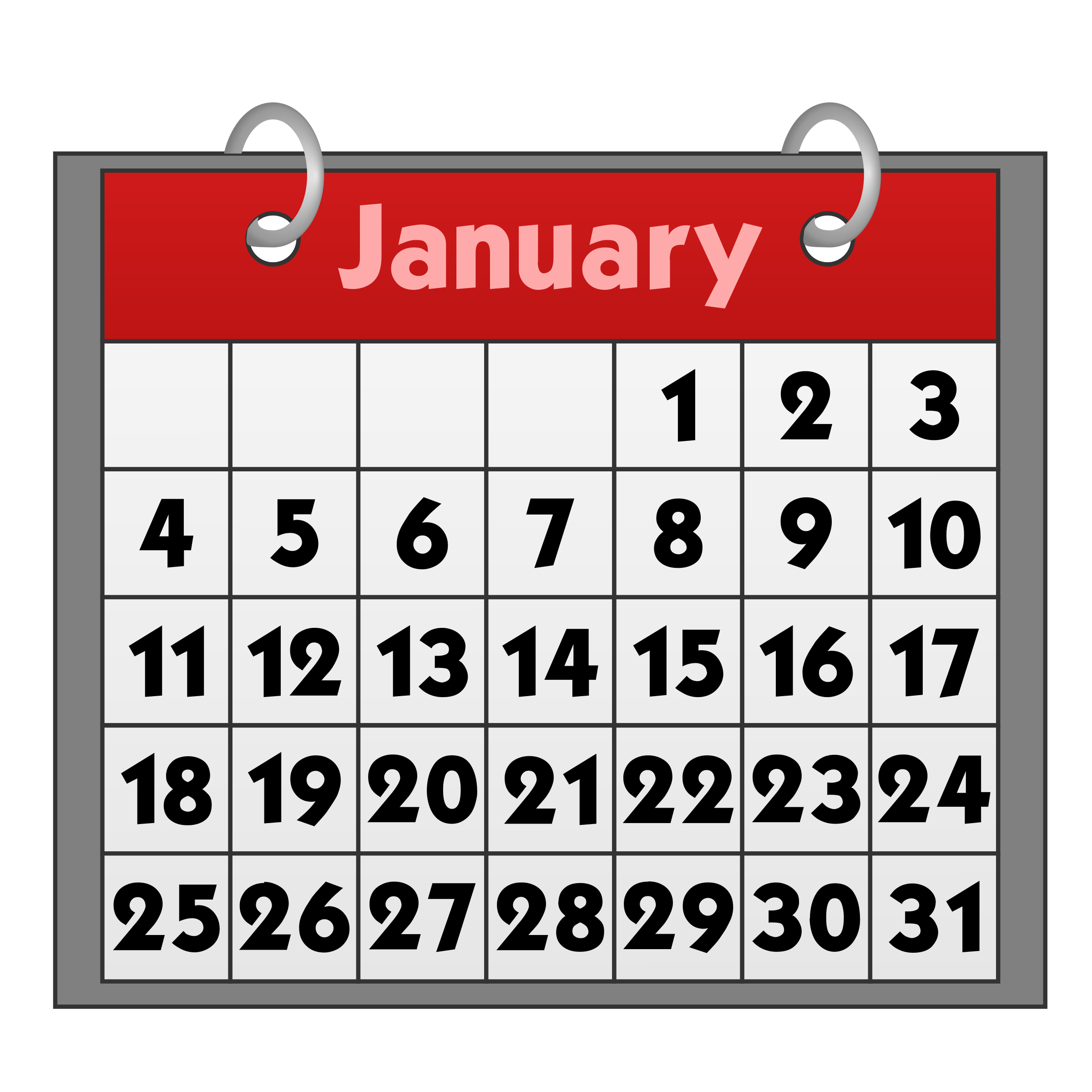 Free clipart january calendar. Images gallery for download