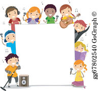 Free clipart kids singing black and white stock Singing Clip Art - Royalty Free - GoGraph black and white stock