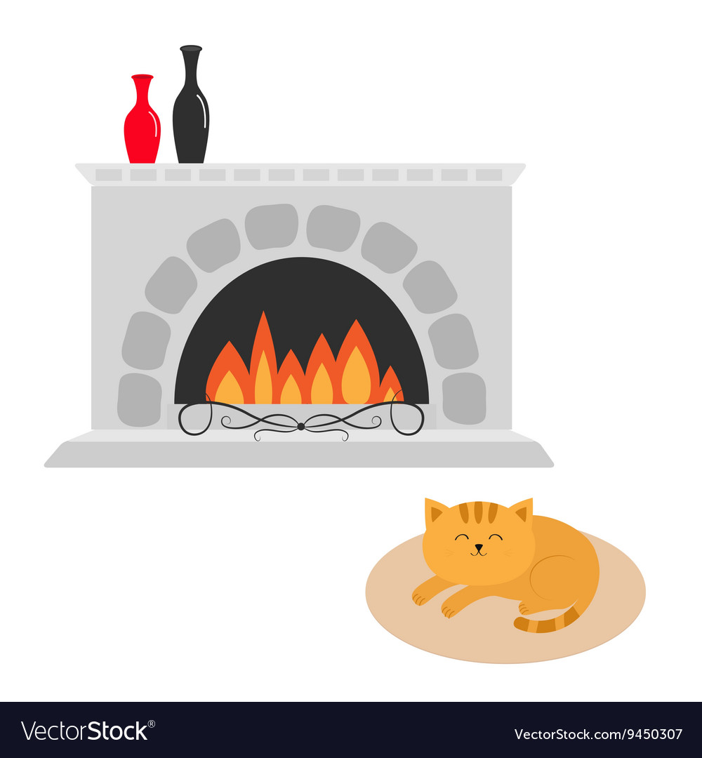Free clipart kitten sleeping in front of fireplace clip art transparent download Cute cat lying sleeping on oval carpet rug mat clip art transparent download