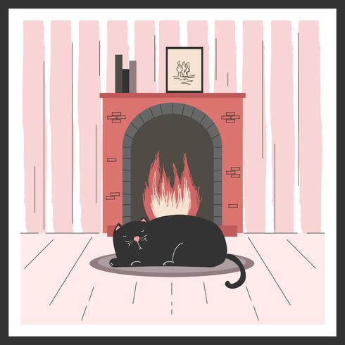 Free clipart kitten sleeping in front of fireplace svg black and white library Cat By The Fireplace Vector - Download Free Vector Art, Stock ... svg black and white library