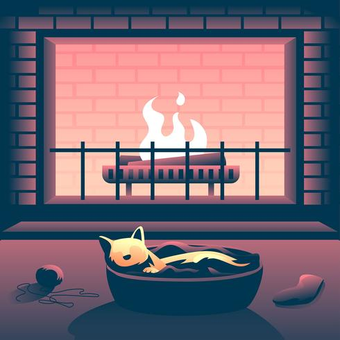 Free clipart kitten sleeping in front of fireplace banner transparent Cat In Front Of The Fireplace Vector - Download Free Vector Art ... banner transparent