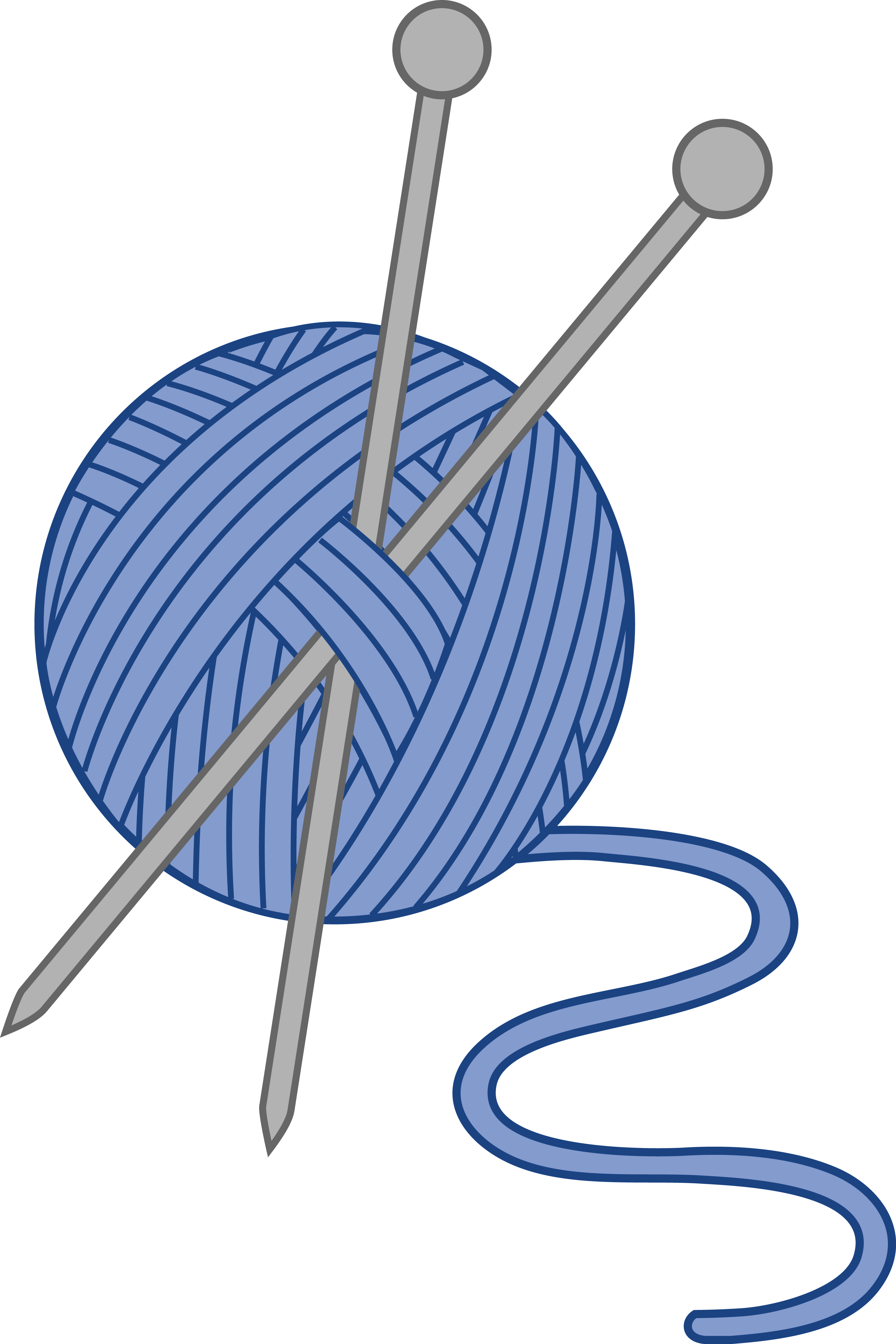 Free clipart knitting needles. Blue yarn and clip