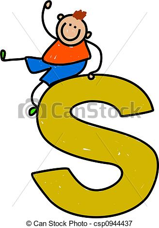 Free clipart letter s picture royalty free stock Stock Illustrations of letter S boy - happy little boy sitting on ... picture royalty free stock