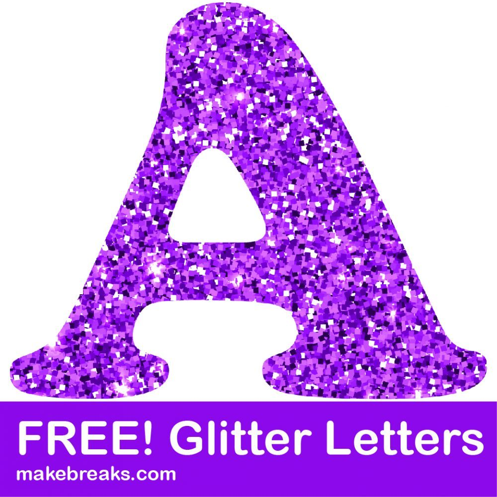 Free clipart letters to print clipart free stock Free Printable Purple Glitter Letters to Download - Make Breaks clipart free stock