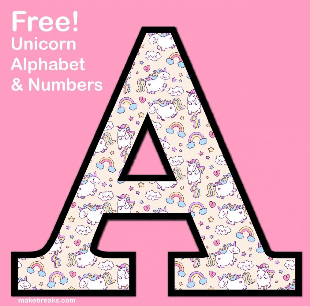 Free clipart letters to print clip art free download Unicorn Letters & Numbers to Print 3 - Free Printable Alphabet ... clip art free download