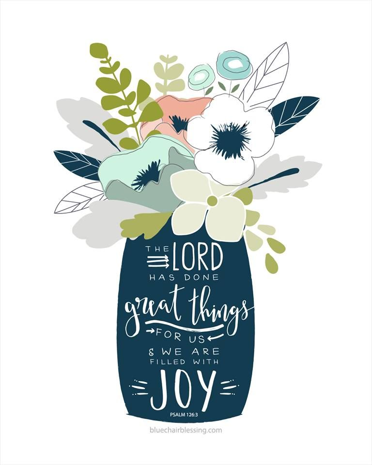Free clipart love binds everything in perfect harmony bible verses jpg free The Lord has done great things for us (vase of flowers) hand ... jpg free