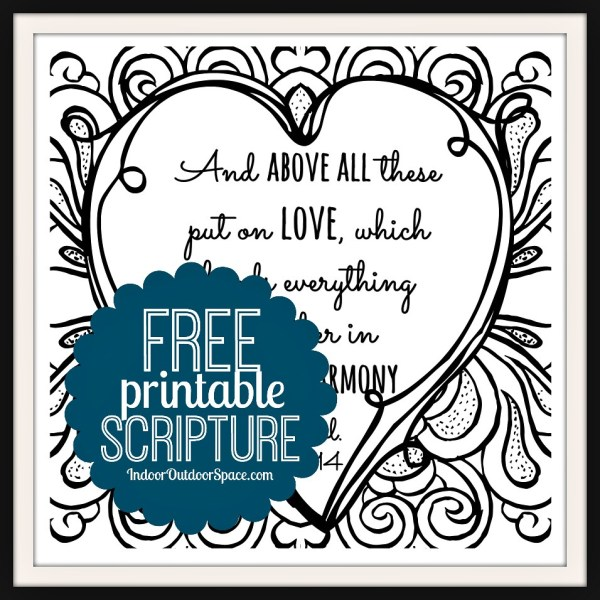 Free clipart love binds everything in perfect harmony bible verses image black and white download Free Valentines Scripture Verse Printable Coloring Page | Indoor ... image black and white download