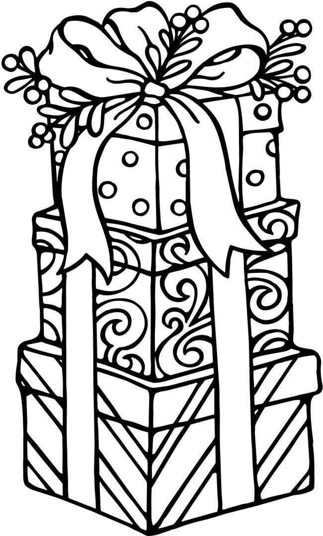Free clipart many gifts one spirit coloring jpg freeuse download Christmas Gifts Coloring page for kids | Craft Ideas for Everyone ... jpg freeuse download