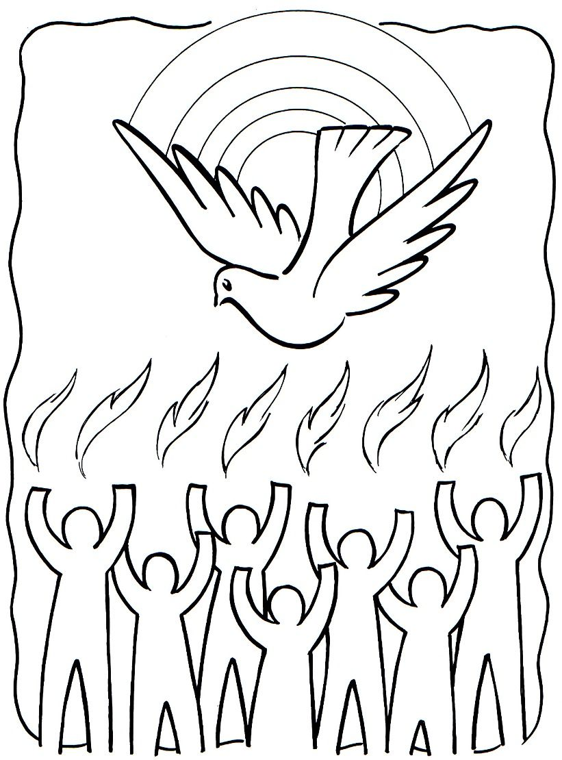 Free clipart many gifts one spirit coloring png black and white library Tongues Of Fire Coloring Pages | Holy Spirit / Pentecost Coloring ... png black and white library