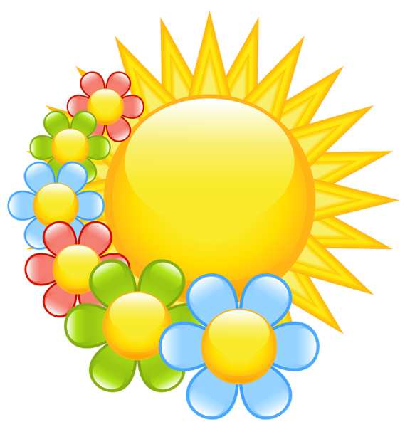 Sun reading clipart clipart transparent Spring Sun with Flowers Clipart | clipart | Pinterest | Flowers ... clipart transparent