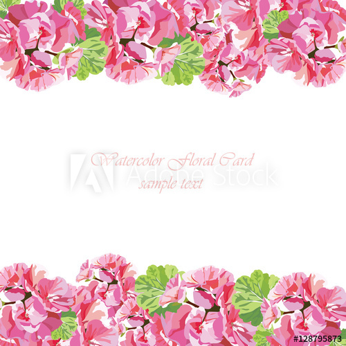 Watercolor flowers card vector. Free clipart may with geranium border