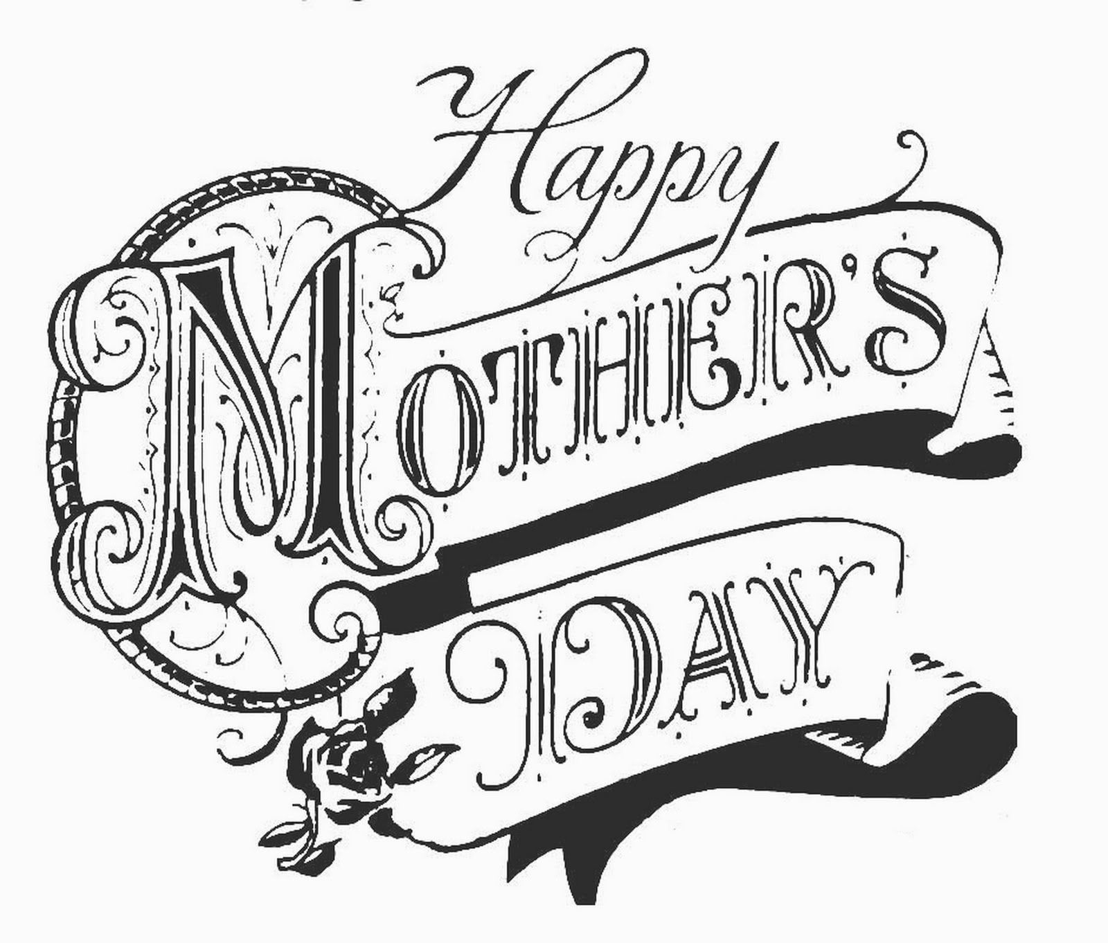 Free clipart mothers day black and white. Printable coloring pages for