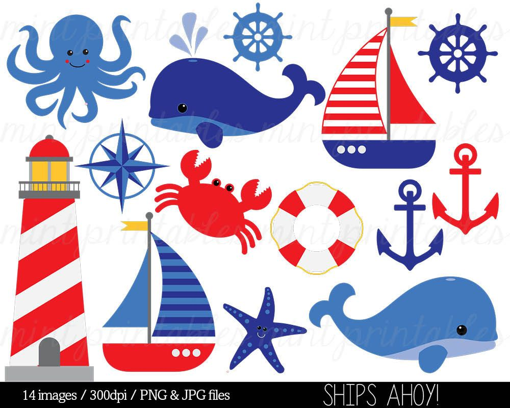 Free clipart nautical theme picture free library Nautical Clipart Clip Art Anchor Clipart Whale by mintprintables ... picture free library