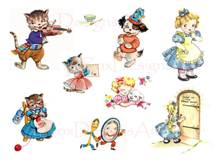 Free clipart nursery rhymes clip art library Free: 50s Nursery Rhyme Art Collage Sheet 4 - Hey Diddle, Three ... clip art library