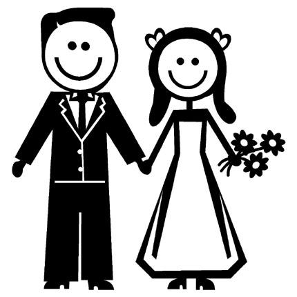 Free clipart of a stick figure bride and groom clipart freeuse stock STICK FIGURE FAMILY NEWLYWEDS BRIDE GROOM VINYL DECAL Amazing Bride ... clipart freeuse stock