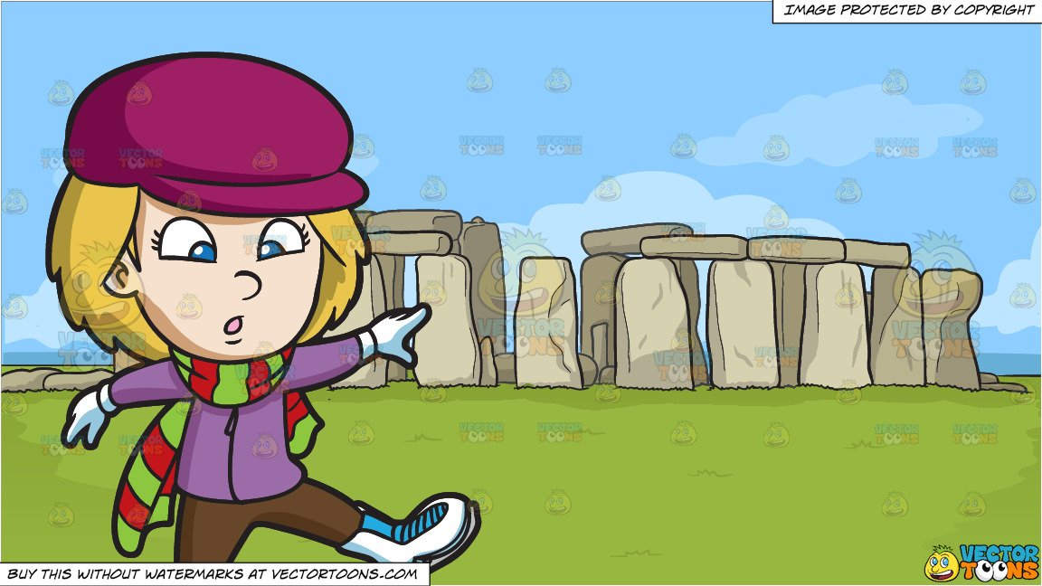 Free clipart of boy wobbling on skates jpg royalty free download A Nervous Girl Learning How To Skate and Stonehenge Background jpg royalty free download
