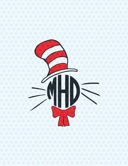 Free clipart of cat in the hat font for cricut clipart freeuse Dr. Seuss Cat In the Hat SVG Monogram Cat in Hat SVG School Svg ... clipart freeuse