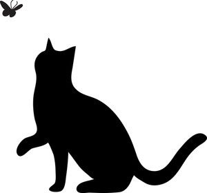 Free clipart of cats vector black and white library Free Cat Clip Art Image: clip art silhouette of a cat pawing at a ... vector black and white library