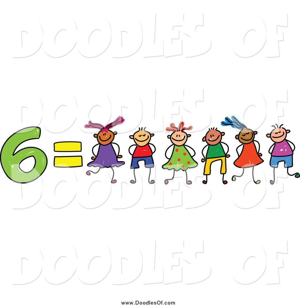 Free clipart of child with an equals sign jpg transparent stock Vector Clipart of a Doodle of 6 Equals Six Kids by Prawny - #789 jpg transparent stock