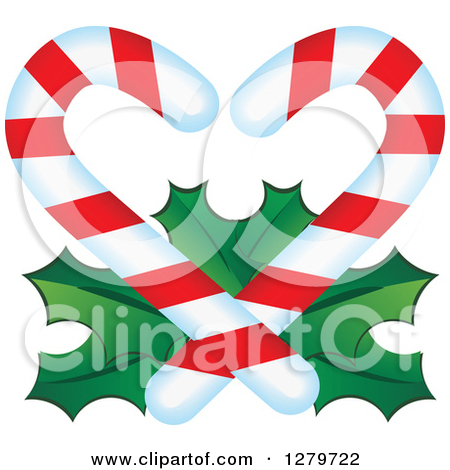 Free clipart of christmas candy hearts image free stock Clipart of Christmas Candy Canes Forming a Heart over Holly ... image free stock