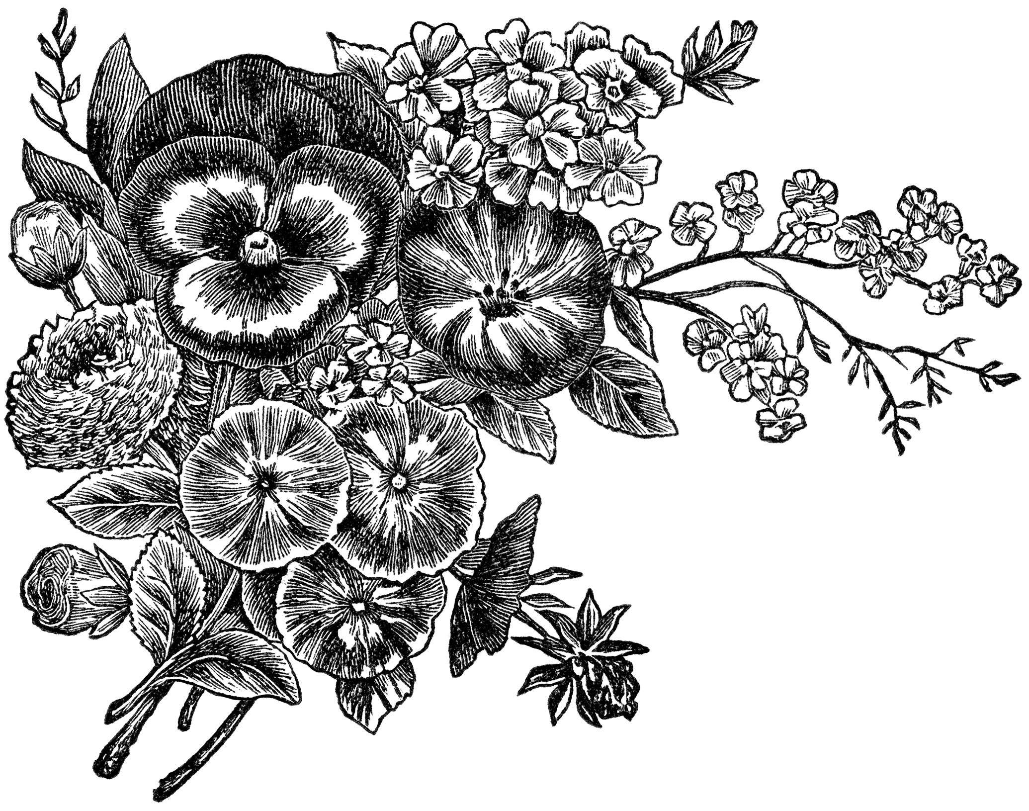 Kids flower bunch clipart black and white clipart transparent library Best Free Black And White Clipart #15132 - Clipartion.com clipart transparent library