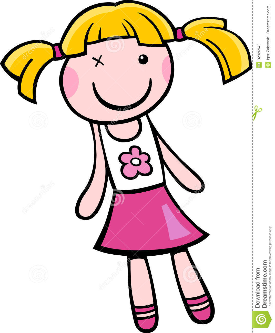 Doll black and white. Free clipart of dolls