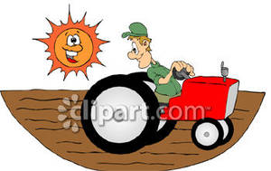 Farmer driving a tractor. Free clipart of farmers in the fields