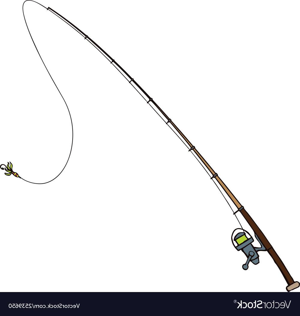 Unique rod vector drawing. Free clipart of fishing poles and lures