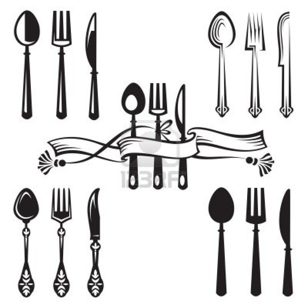 Free clipart of fork spoon and knife border svg black and white library Stock Vector | clip art | Forks, spoons, Fork, Knife logo svg black and white library