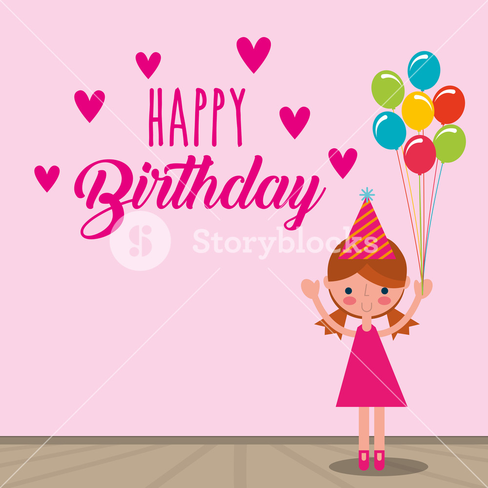 Free clipart of girl holding happy balloons svg black and white cute girl holding bunch balloons decoration - happy birthday card ... svg black and white