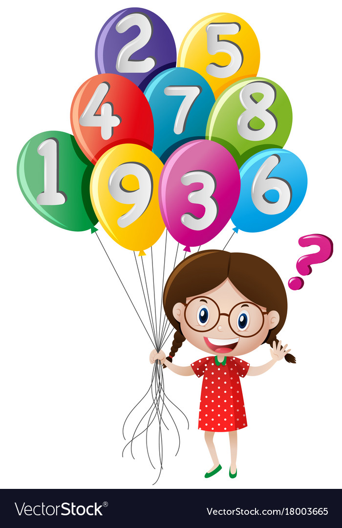 Free clipart of girl holding happy balloons stock Little girl holding balloons with numbers stock