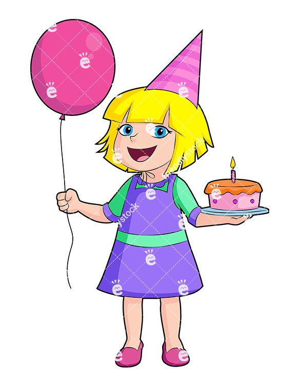 Free clipart of girl holding happy balloons svg library A Happy Birthday Girl Dressed In Purple, Holding A Cake And Balloons ... svg library