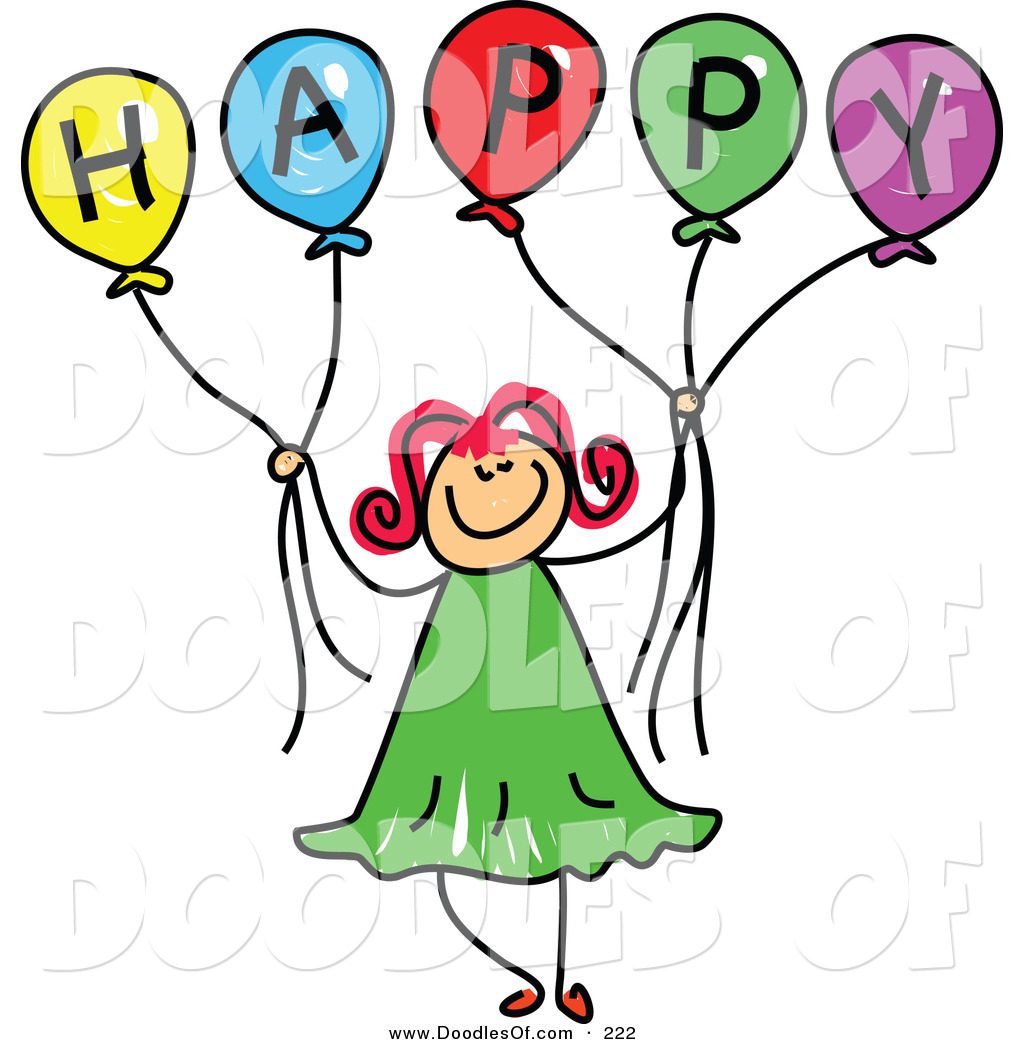 Free clipart of girl holding happy balloons clipart black and white Vector Clipart of a Childs Sketch of a Happy Girl Holding Balloons ... clipart black and white