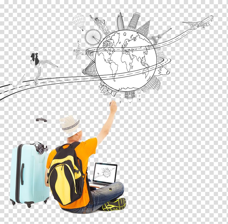 Free clipart of globe luggage and female traveler. Travel drawing with suitcase