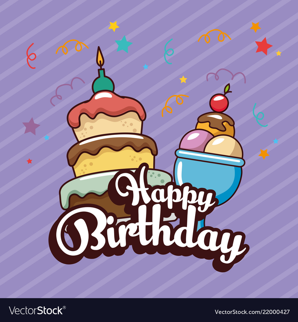 Free clipart of happy birthday cake and ice cream clipart freeuse Happy birthday card with sweet cake and ice cream clipart freeuse