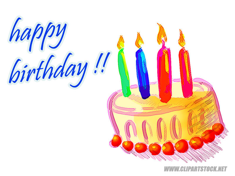 Download clip art . Free clipart of happy birthday with 4 candle
