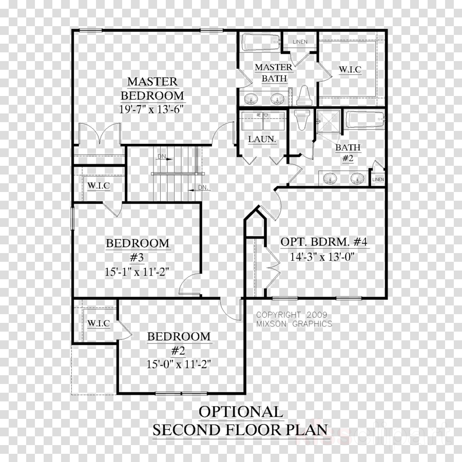 Free clipart of house with master bedroom black and white library Floor Plan, House Plan, Building, transparent png image & clipart ... black and white library