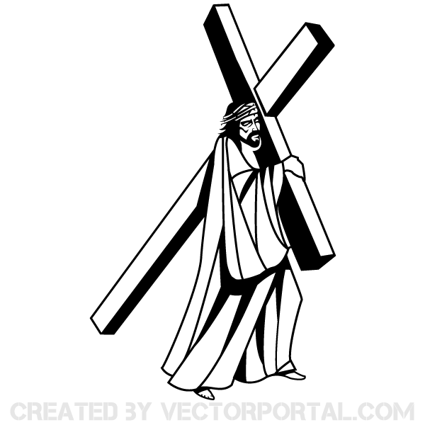 Free clipart of jesus carring a man