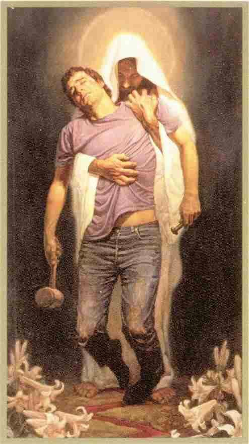 Free clipart of jesus carring a man vector freeuse stock jesus holding the man\