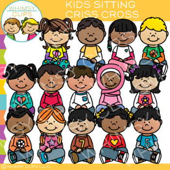 Free clipart of kids sitting criss cross clipart black and white download Kids Sitting Criss Cross Clip Art by Whimsy Clips | TpT clipart black and white download