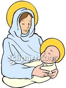 Free clipart of mary and baby jesus clip download Virgin Mary and Baby Jesus With Halos - Royalty Free Clipart Picture clip download