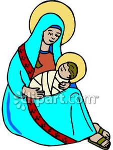 Free clipart of mary and baby jesus image free stock Mary and Baby Jesus With Halos - Royalty Free Clipart Picture image free stock