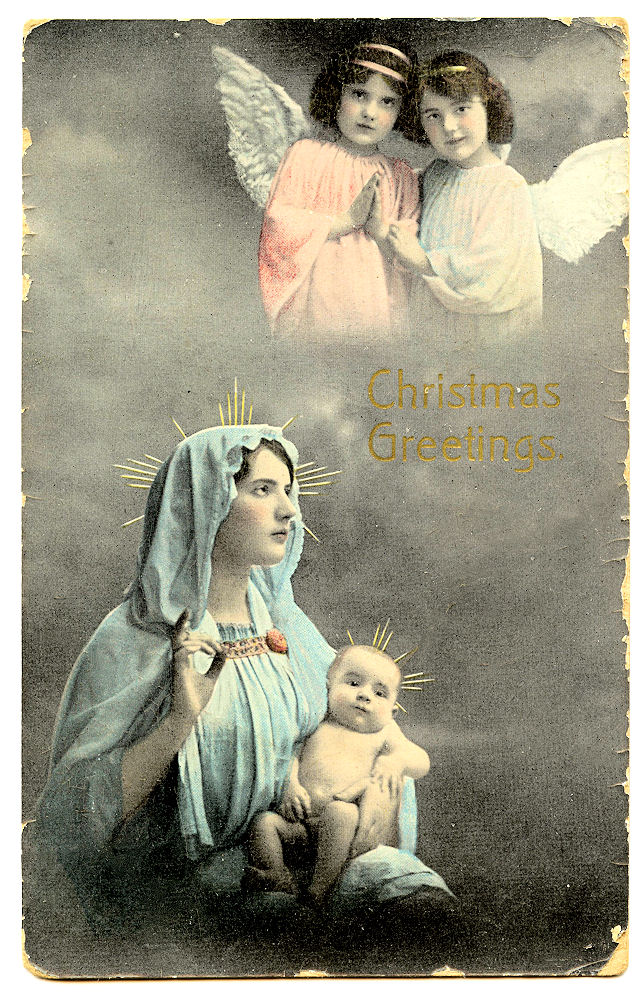 Free clipart of mary and jesus clipart transparent stock Free Vintage Clip Art - Baby Jesus, with Mary & Angels - The ... clipart transparent stock