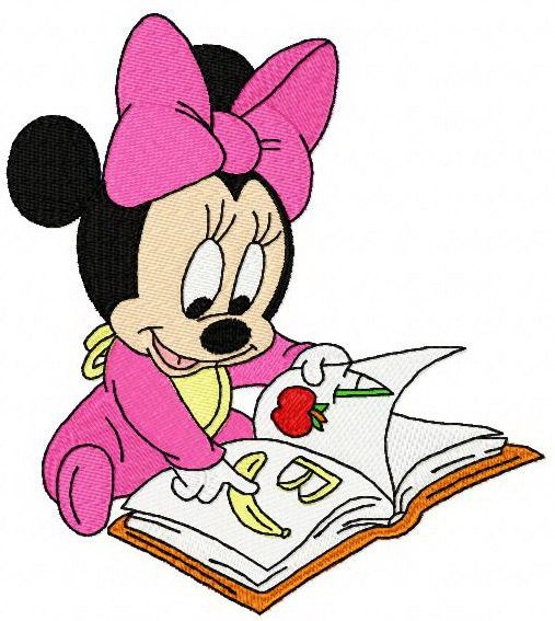 Free clipart of minnie mouse at reading clip free download Baby Minnie Mouse reading a book machine embroidery design. Machine ... clip free download