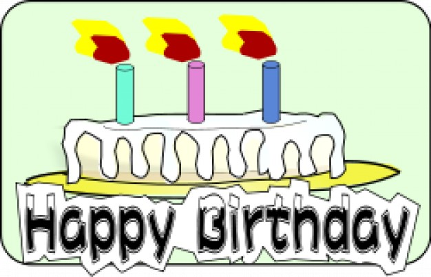 Cake with on fire. Free clipart of number 3 birthday candles