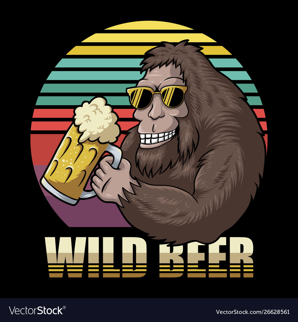 Free clipart of sasquatch drinking a beer jpg library Bigfoot beer retro jpg library