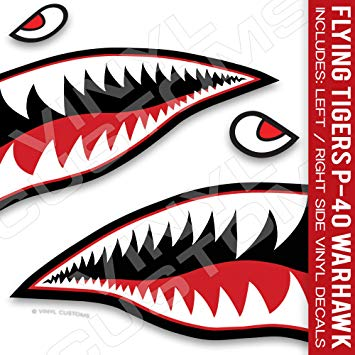 Free clipart of shark eyes and teeth clip black and white download Flying Tigers Decals Shark Teeth Stickers P-40 Warhawk (3\
